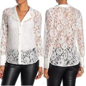 $125 Retail Laundry Button-Up Lace Blouse